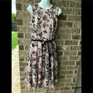 Danny and Nicole Floral Dress With A Belt
